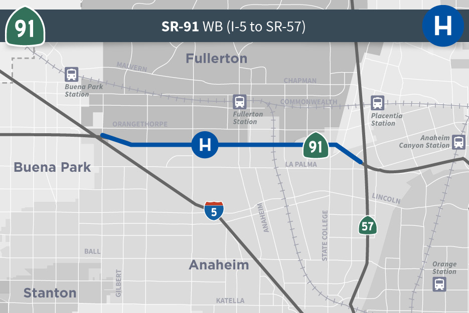 SR-91 (I-5 to SR-57) Map